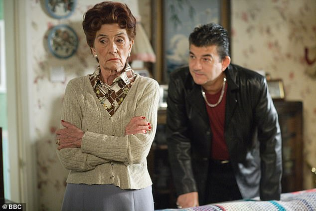 As seen on screen: June Brown is pictured as Dot Cotton in EastEnders with her on-screen son Nick (John Altman)