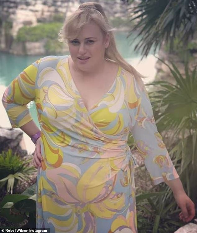 Dazzling: On Sunday, Rebel Wilson attended a glamorous wedding near Cancun, Mexico