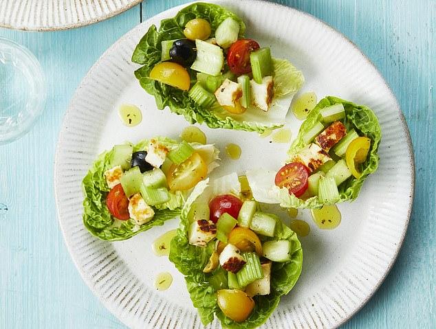 Chopped salad with warm halloumi and lemon and oregano dressing