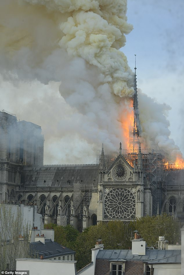 Tragedy: Tragedy struck Tina's 'second home' on Monday evening when a fire broke out in the roof of the Notre-Dame de Paris, causing considerable damage to the building