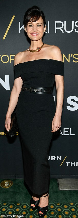 Opening night: Annette Bening (left) and Carla Gugino attend opening night of the revival of Lanford Wilson's play Burn This on Broadway Monday night