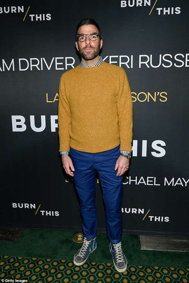 Quinto: Zachary Quinto arrives at opening night of Burn This