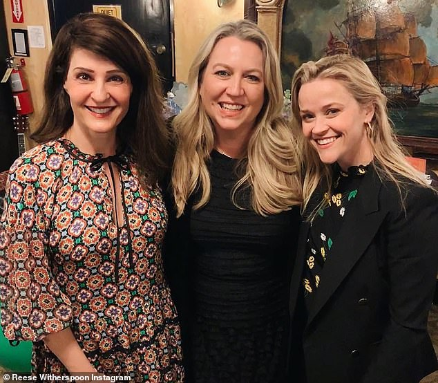 Old friends: Reese posed with the play's star Nia Vardalos and advice columnist Cheryl Strayed on whose work the production is based for this Instagram snap