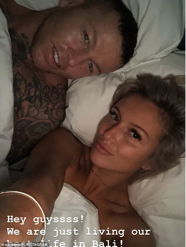 'We are living our best lives in Bali!' MAFS' Susie Bradley (right) shares bedroom selfie with NRL bad boy boyfriend Todd Carney (left) during romantic getaway