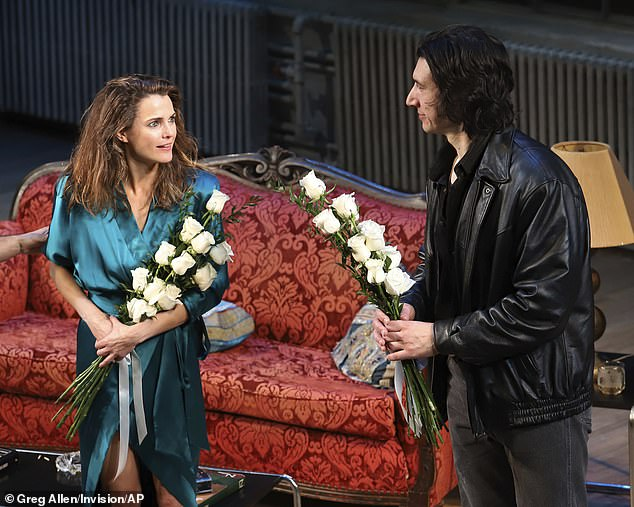 Curtain call: Adam Driver and Keri Russell were all smiles as they debuted their new revival of Burn This on Broadway