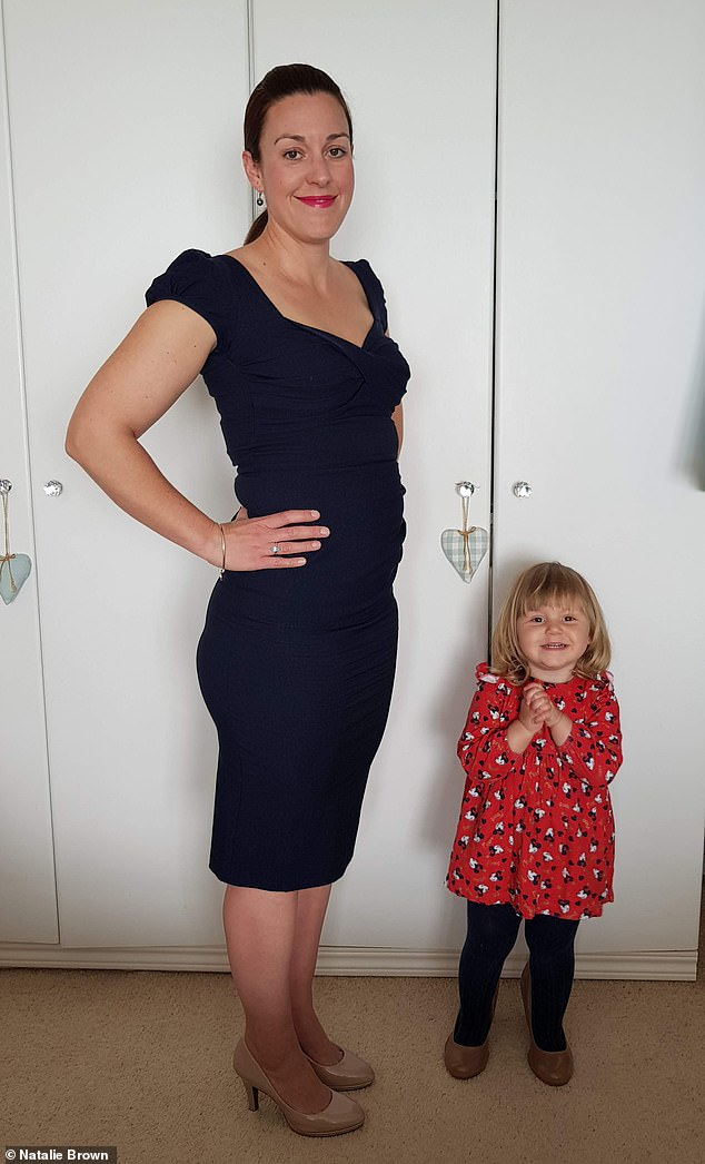 Natalie (pictured after with her daughter Marigold) lost9.7lbs and dropped from a UK size 12 to a UK size 10 within 28 days
