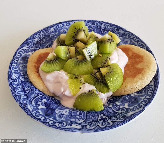 For breakfast Natalie indulged in crepes with yoghurt and kiwi (pictured), a three-star Michelin chef was involved in crafting Dietbon meals