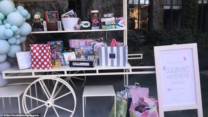 """Kardashian said to Insta-Story: """"We did not want any presents for Miss True. We asked for everyone to bring a gift to the Los Angeles Children's Hospital. & # 39;"""