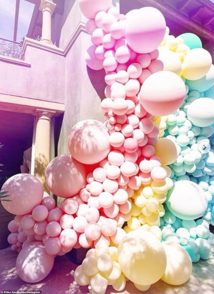 Breathtaking: Colorful balloons adorned the outside wall of the house