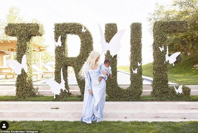 Extravagant: Khloe Kardashian has posted even more pictures of daughter's very lavish first birthday party on social media