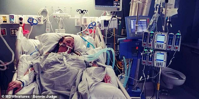 Ms Judge spent several days in an induced coma (pictured) to recover from her septic shock