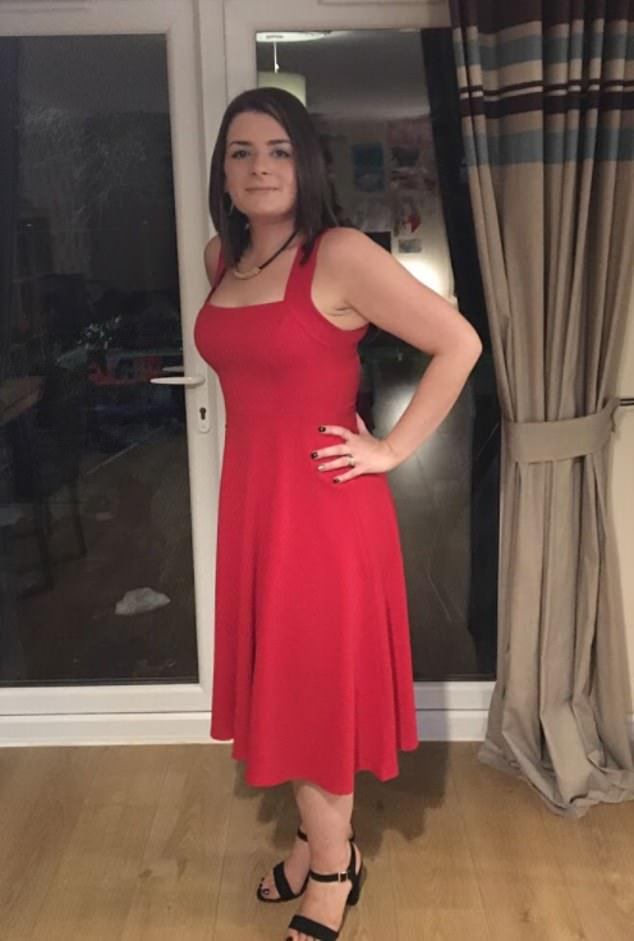The mother-of-two gained weight because walking was so uncomfortable and unable to move from the sofa. Pictured at Christmas wearing a dress for the first time in years after having treatment in the autumn