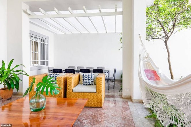 Guests renting out the mansion in Havana, Cuba, which is operated by the former president's granddaughter, have full use of a four-bedroom home that also features a hammock (right)