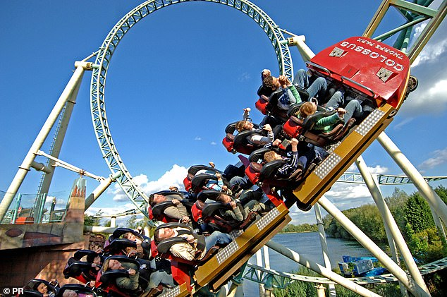 Miss White's symptoms began after she went on the Colossus ride at Thorpe Park (Pictured: A promotional photo of the ride)