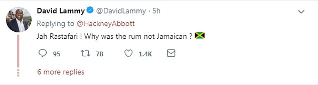 Speaking out: Tottenham MP David Lammy responded to Ms Abbott's apology, asking her why the rum was not Jamaican