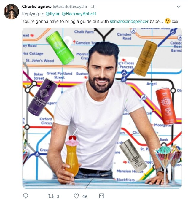 Impressive!:The tweet left Rylan's fans in hysterics as they also suggested their preferred drink of choice, with one follower, called Charlie Agnew, even creating her own M&S alcohol guide tube line