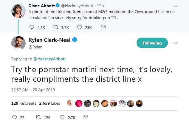 Poking fun:Replying to the Shadow Home Secretary's, 65, apology statement, he responded with: 'Try the pornstar martini next time, it's lovely, really compliments the District line x.'