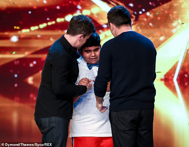 Proud:Giving Akshat a hug on stage, Ant told him he 'was fantastic' and a 'remarkable young man', before they then gushed that they wanted to 'keep him'