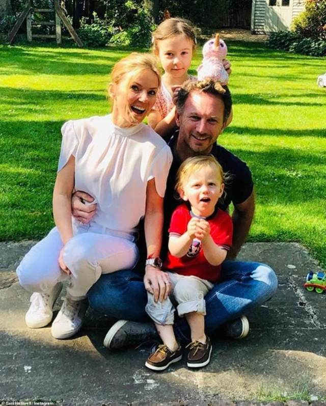 Soaking up the sun: Geri Horner made the most of the sunny weather with husband Christian, step-daughter Olivia and son Monty