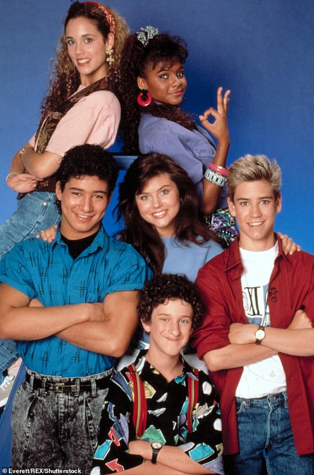 Original: Mark-Paul Gosselaar, Mario Lopez, Tiffani Thiessen, and Elizabeth Berkley - who played Zack Morris, AC Slater, Kelly Kapowski, and Jessie Spano, respectively - gathered for dinner at Petit Trois in the tony neighborhood of Sherman Oaks. Dustin Diamond and Lark Voorhies were not present; (cast picture from 1992)