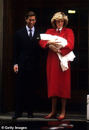 Prince Charles and Princess Diana after the birth of Prince Harry