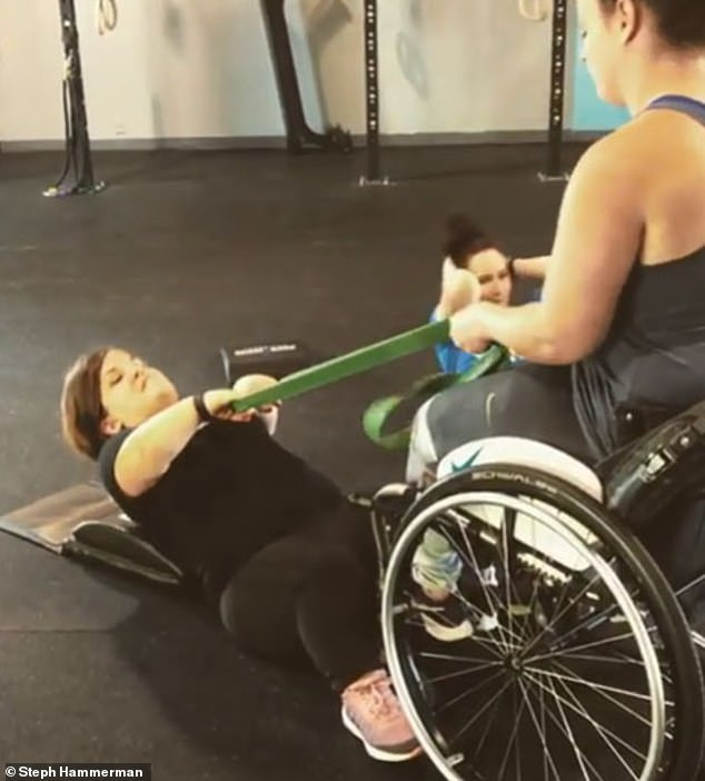 Hammerman immediately began a 29-week chemotherapy regimen and she credits her fitness regimen with saving her life. After seven weeks, she was cancer-free. Pictured: Hammerman training a client