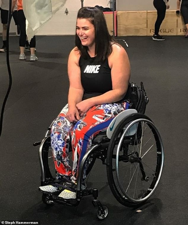 Hammerman (pictured) currently gets around in a wheelchair and with crutches, and became certified in CrossFit in 2014