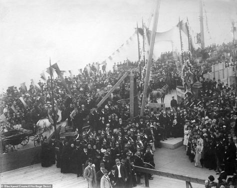 The picture above shows the amount of people who gathered for the foundation laying in 1891, people can be seen all the way down the promenade