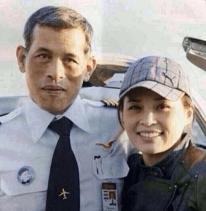 The pair met while Suthida was an air stewardess aboard Thai Airways, where then-Prince Vajiralongkorn served as a pilot (pictured, exact date unknown)