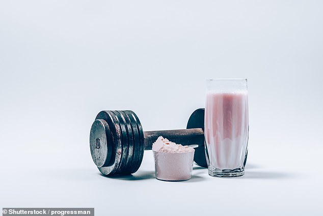 Many gym goers are known to chug down protein shakes (pictured above) either before or after working out