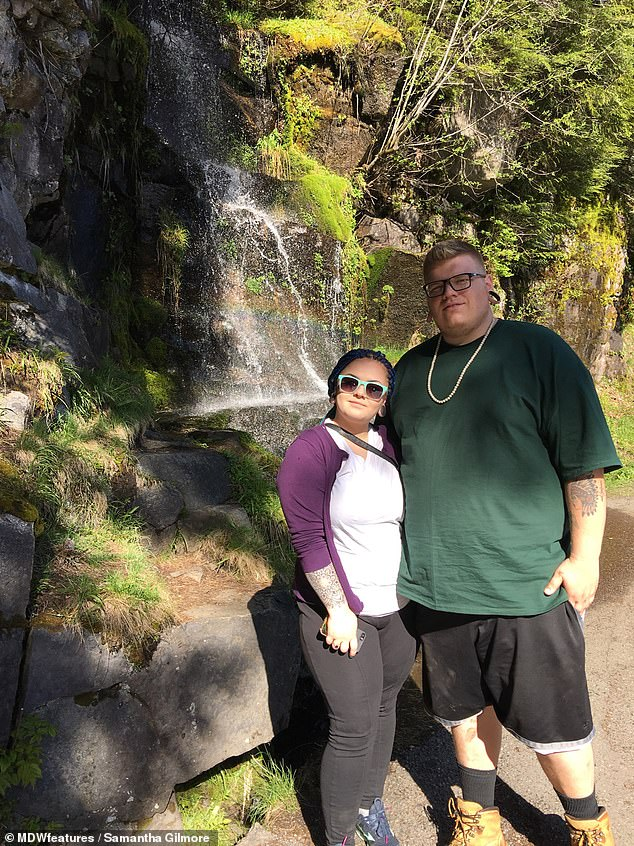 The couple on a day out before the weight loss. Samantha said their sex-life was reborn since dropping the pounds