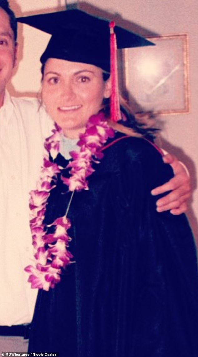 Ms Caterwent vegan when she was 18 thinking it was the best thing to do for her health and to protect the environment. Pictured graduating, age unknown