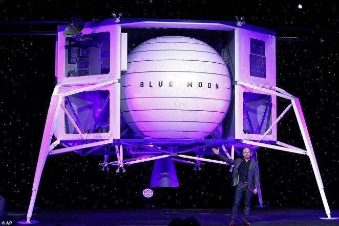 Blue Origin is now in the running to put Americans back on the moon by 2024. Amazon CEO Jeff Bezos has revealed the ambitious next steps for his aerospace company at a highly-secretive media event in Washington, D.C. on Thursday. On stage, Bezos took the wraps off a massive model of what will be the firm's first lunar lander, dubbed Blue Moon