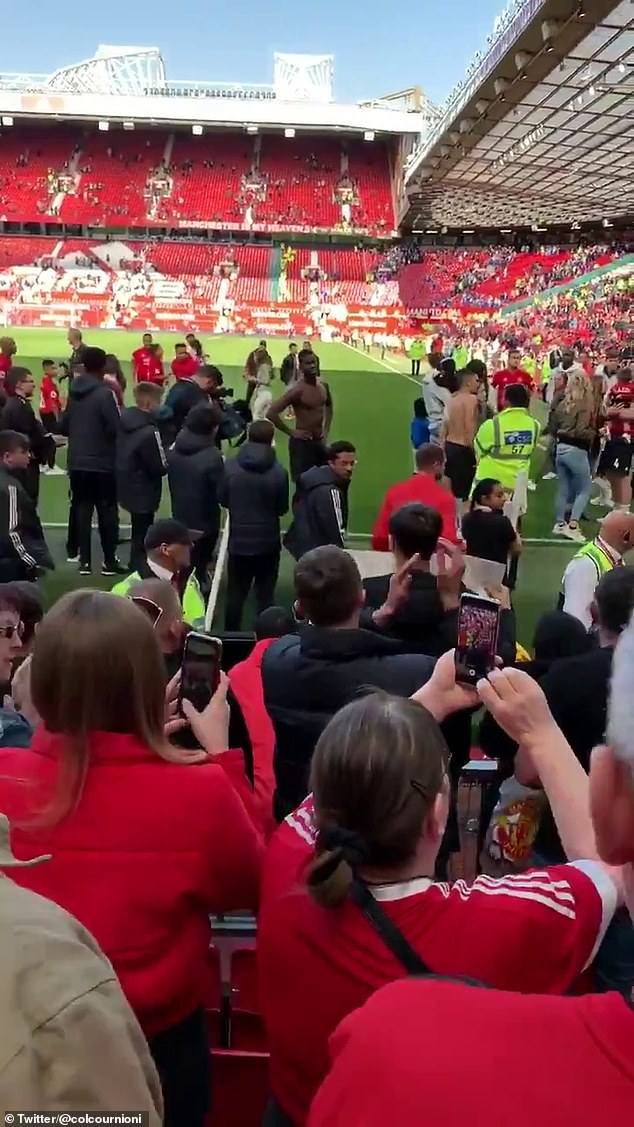 Paul Pogba was involved in a verbal disagreement with a supporter at the end of Manchester United's 2-0 defeat by Cardiff on the final day of the Premier League season