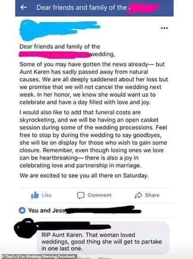 The bride caused outrage after revealing her plans to combine her aunt's funeral with her upcoming wedding