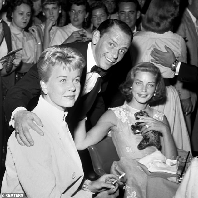 Doris Day, Frank Sinatra (center) and Lauren Bacall (right) posing in 1956 at the Sands Hotel Casino Las Vegas. In 1954, Day starred alongside Frank Sinatra in the role of Young at Heart