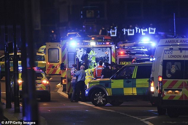 Emergency services are pictured swarming London Bridge and the surrounding area on the night of the terror attack in 2017