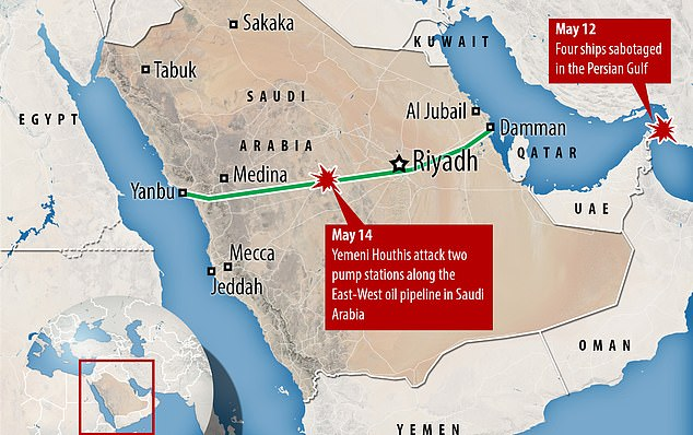 The attacks on Wednesday and Thursday mark the latest flashpoint amidst escalating Middle East voltages, which have been broken down by oil tankers and have been targeted (pictured, a diagram showing the location of May's attacks)