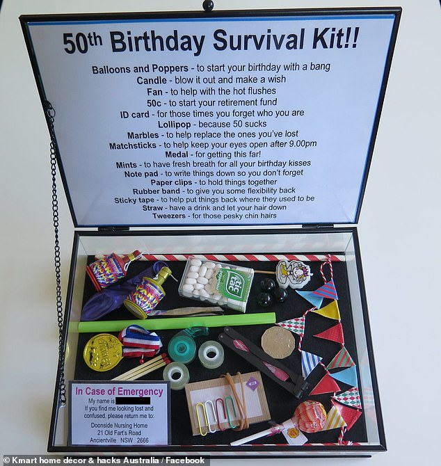 Woman Gifts Her Friend A Survival Kit For Her 50th Birthday Complete With Lost Marbles Daily Mail Online
