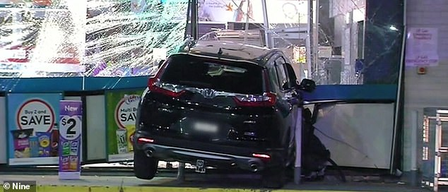 Carnage: A Honda SUV driven by Didier Lam Kee Shau remained lodged in the service station after he drove it at speed into it. Shau had bashed a pregnant woman outside moments earlier