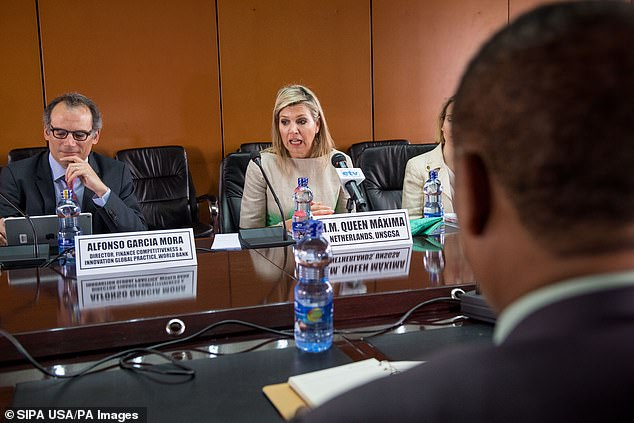 Maxima speaking during the talk with the National Bank of Ehtiopia's Governor in Addis Ababa this morning (pictured)