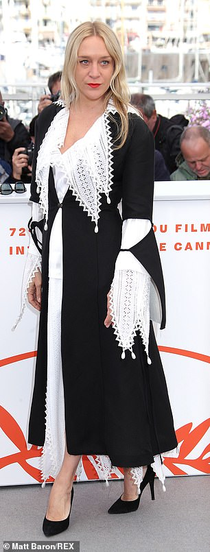 Chloe, 44, meanwhile was looking quirky in her black and white dress with a dramatic collar and sleeves