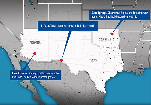 The map above shows the more than 1,000 miles between Rodney and Linda's home in Sand Springs, Oklahoma, and where the husband was arrested on Monday in Eloy, Oklahoma