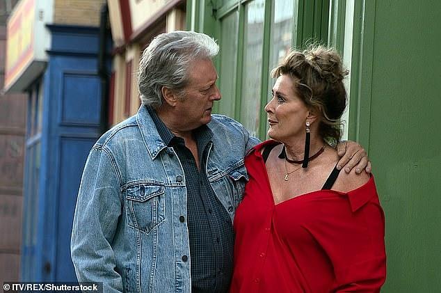 Mr Lawson on the long-running soap with his co-star, Beverley Callard (Liz MacDonald)