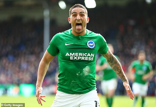 Anthony Knockaert pulled his tongue out in celebration but his goal was in vain against Palace