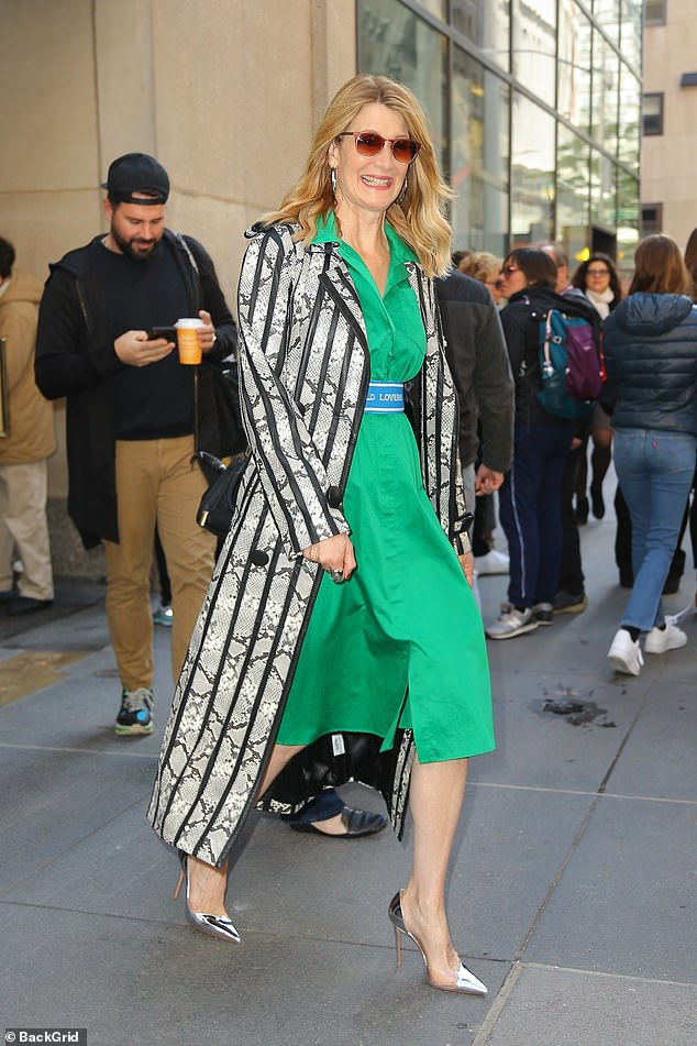 A bold statement:After she did her interview, the Jurassic Park star was seen leaving the studio. At this point the LA native wore a snakeskin coat with black leather piping and stripes
