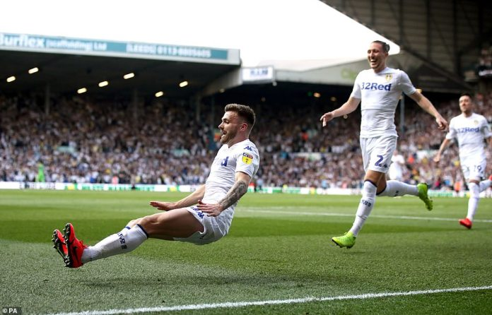 The winger peeled away in jubilation and dived on the floor to celebrate after giving the home side the lead at Elland Road