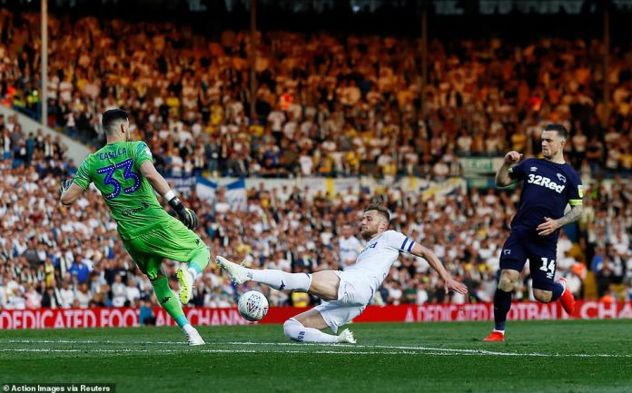 Leeds defenderLiam Cooper and goalkeeperKiko Casilla get in a terrible mix-up as they both tried to deal with the danger