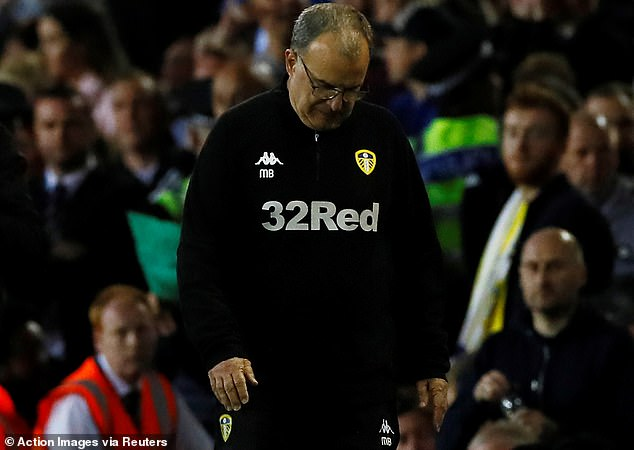 Leeds manager Marcelo Bielsa looks at the ground during the second leg defeat at Elland Road