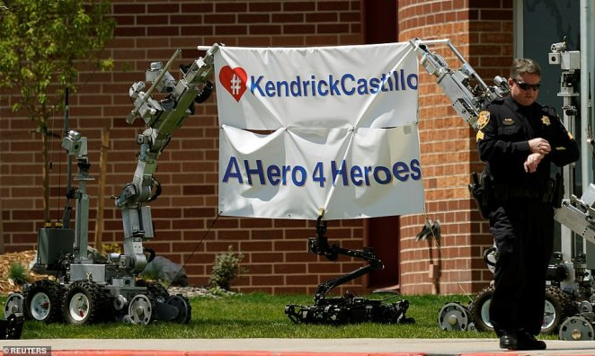 Castillo also loved Robotics, which was reflected in the robots that were lined up outside the church. Two robots held a sign that read 'A hero 4 heroes'